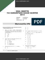Soal SBMPTn Test Kemampuan Dasar SAINTEK 2014 Dan Jawaban