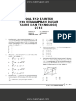 Soal TKD SAINTEK (Soal Kemampuan Dasar Sains Dan Teknologi) 2015 Dan Jawaban