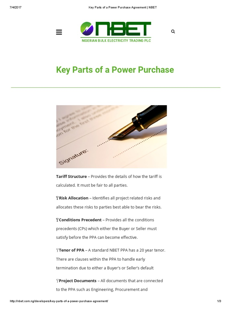 Key Parts of a Power Purchase Agreement _ NBET | Business | Energy ...
