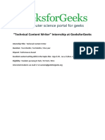 Internship at GeeksforGeeks -Notice- Technical Content Writer