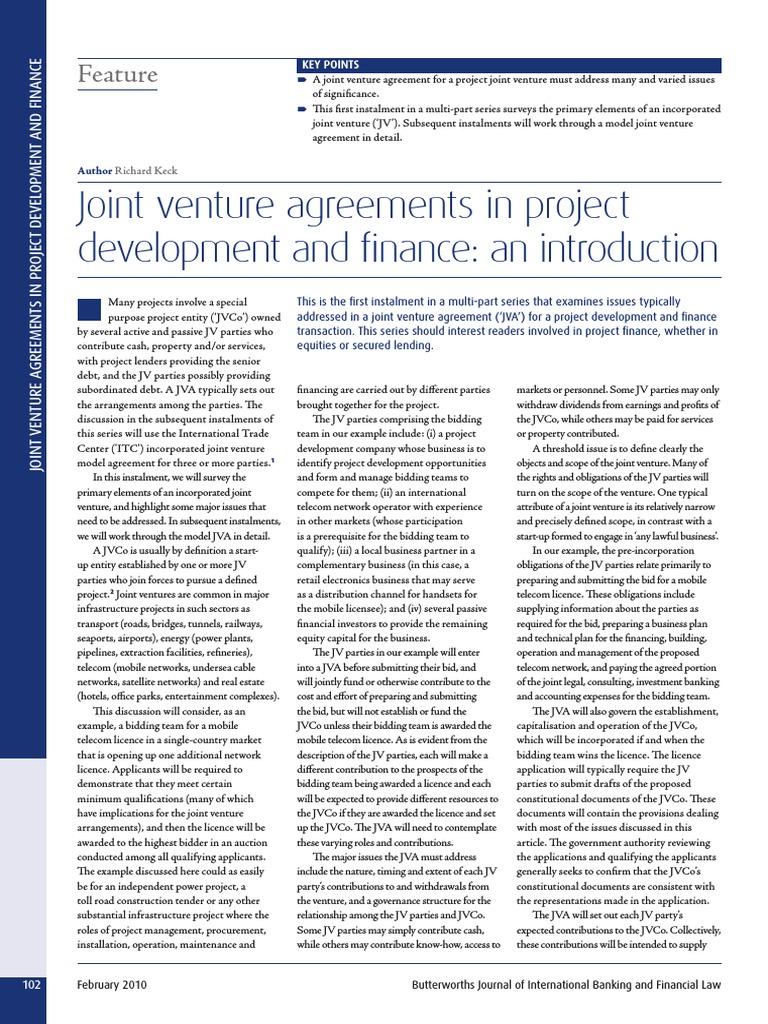 Joint venture agreements in project development and finance an joint venture agreements in project development and finance an introduction joint venture tech start ups platinumwayz