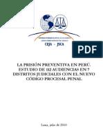 Estudio de La Prisión Preventiva con el Código Procesal Penal peruano