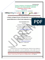 A Study on Impact Factor of Productivity Level of Employees with special Reference to Maa Fruits Industries in Krishnagiri District