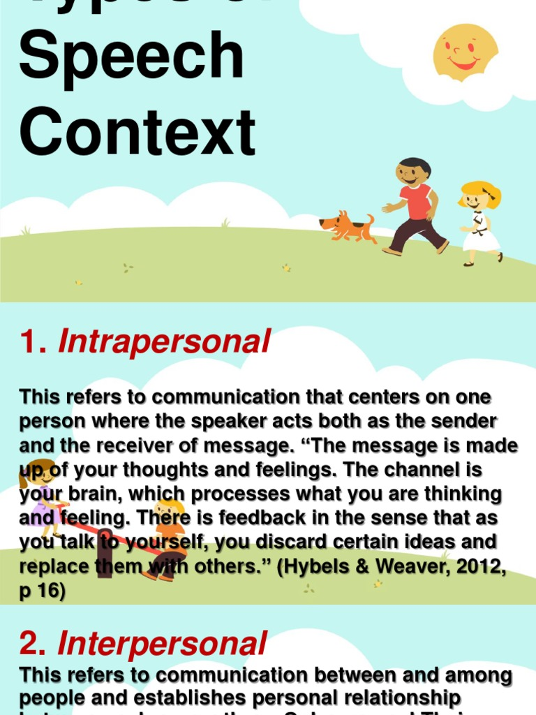 types of speech context interpersonal communication communication