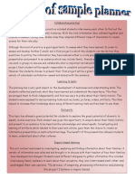 critque of sample planner