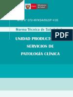 (NTS N 072 MinsaIDGSP-V 01) Norma Tecnica de Salud de La Unidad Productora de Servicios de Patologia Clinica
