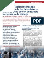 La manipulación interesada de los casos de los detenidos en el marco de la Ley en Venezuela y el proceso de diálogo