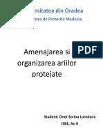 Amenajarea Si Organizarea Ariilor Protejate