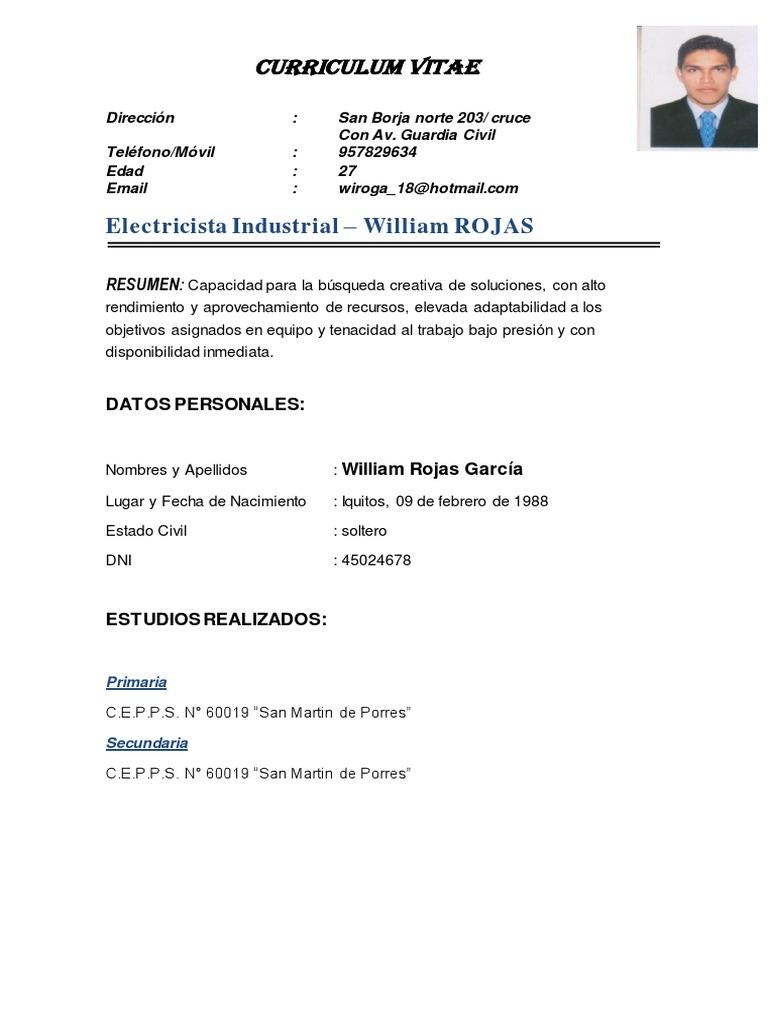 William Rojas Garcia - Electricista Industrial