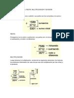 Partes de La Suma, Resta, Multiplicacion y Division