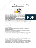 Resumen de Las 17 Reglas de Juego de La FIFA Para Practicar Fútbol Soccer