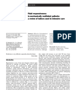 Fluid Responsiveness in Mechanically Ventilated Patients a Review of Indices Used in Intensive CA