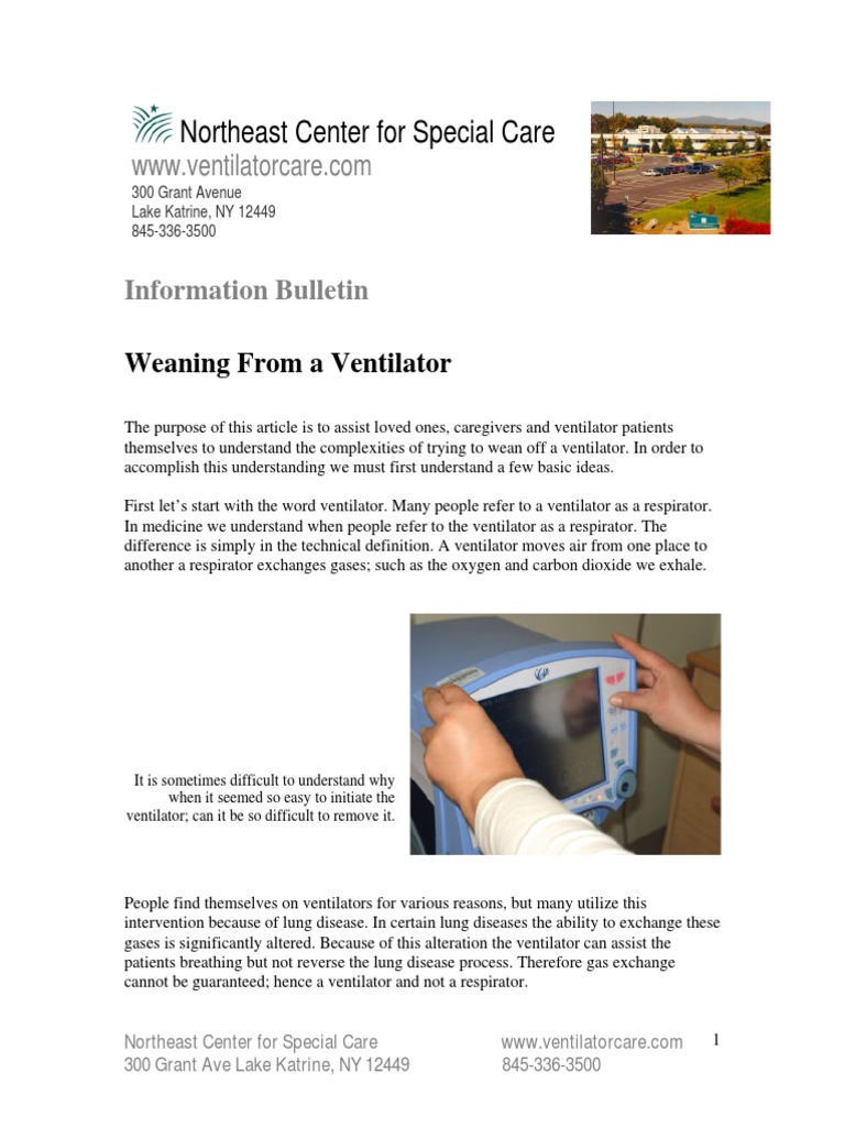 weaning from a ventilator | nutrition | breathing