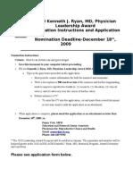Nomination Form for 2010 Kenneth J. Ryan, MD, Physician Leadership Award