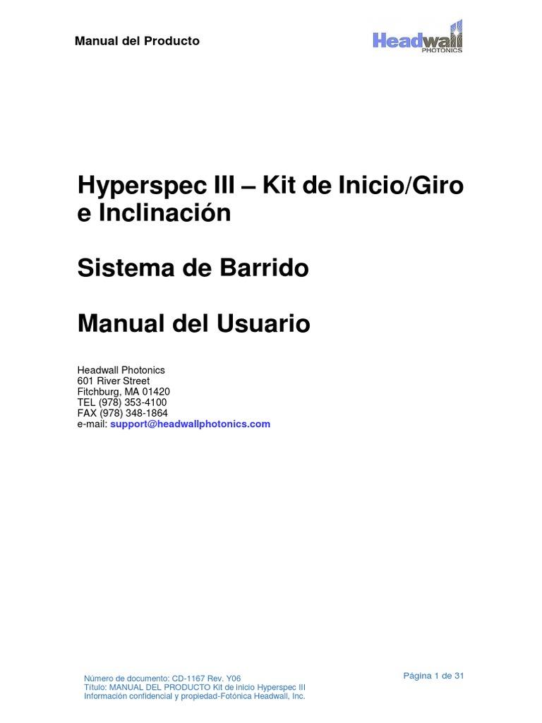 Manual de Equipo de Imágenes Hiperespectrales
