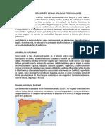 Origen y Formación de Las Lenguas Peninsulares