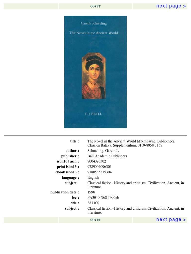 Gareth L Schmeling The Novel In The Ancient World Novels