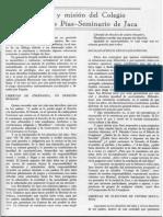 Sentido y Misión Del Colegio Escuelas Pías-Seminario de Jaca