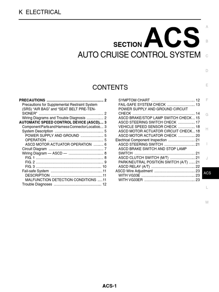 Acs Auto Cruise Control System Airbag Switch Electric Motor Braking Circuit Diagram