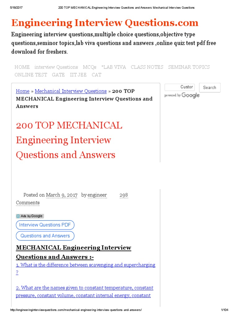 Questions interview engineering mechanical pdf technical