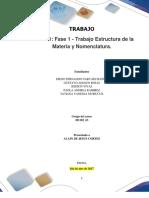 Formato Entrega Trabajo Colaborativo – Unidad 1 Fase 1 - Trabajo Estructura de La Materia y Nomenclatura_Grupo 63