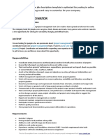 Project Coordinator Job Description Template