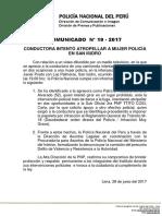 COMUNICADO PNP N° 19 - 2017