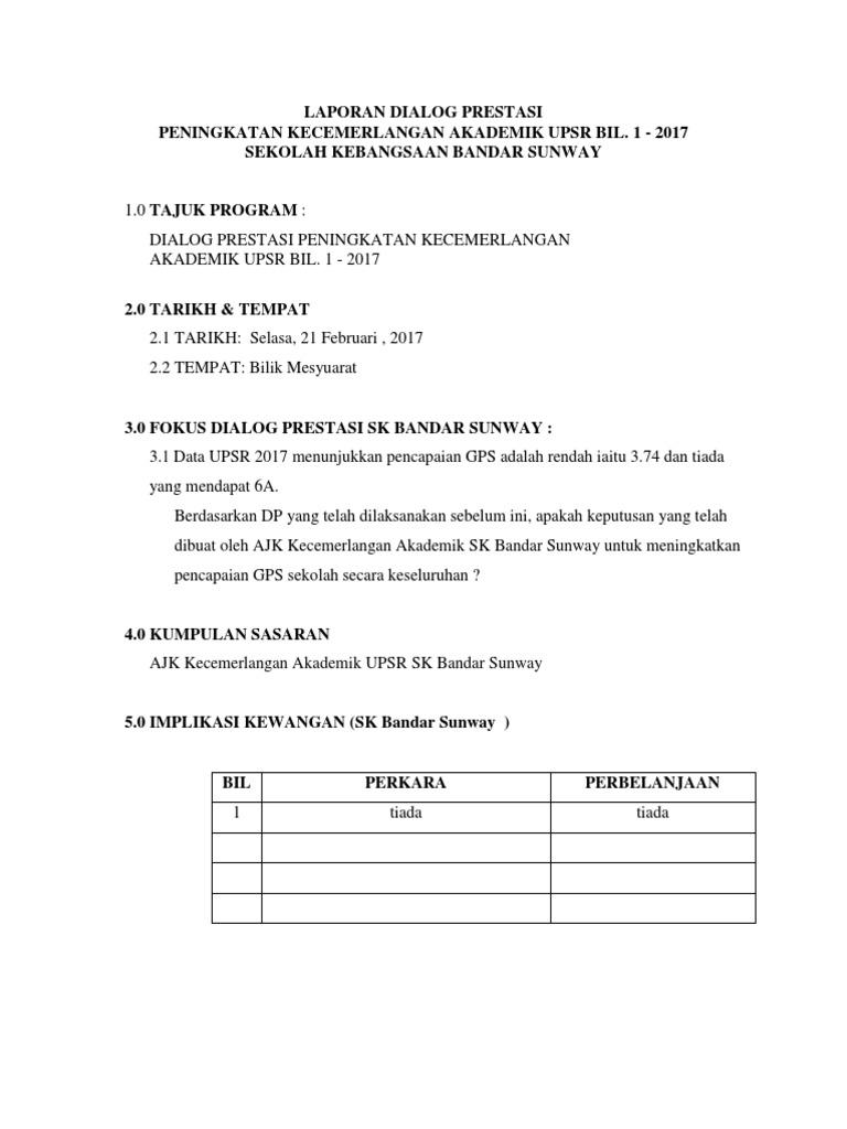 Laporan Dialog Prestasi Akademik Ruslina Bt Mohd Yunus