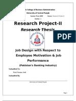 18064754 Job Design Wrt Employee Motivation and Job Performance