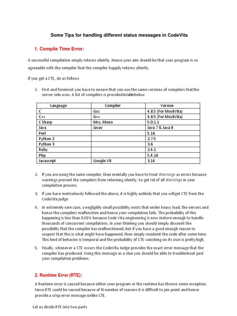 Status Messages   C (Programming Language)   Runtime System