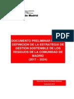 Documento Preliminar Estrategia Residuos Comunidad de Madrid