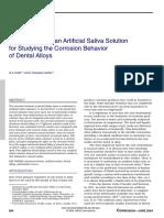 Development of an Artificial Saliva Solution for Studing the Corrosion Behavior of Dental alloys