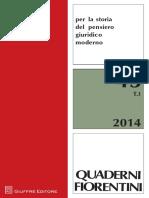 Per La Storia Del Pensiero Giuridico Moderno Quaderni Fiorentini