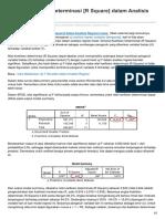 Koefisien Determinasi R Square Dalam Analisis Regresi Linear