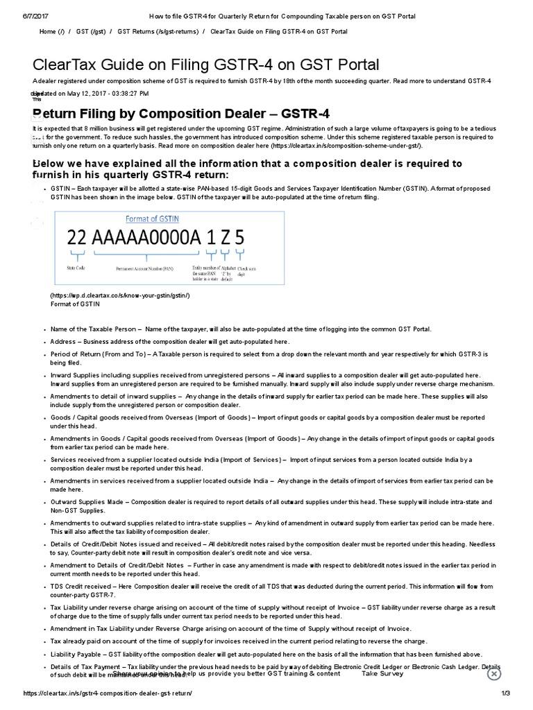 How to File GSTR4 for Quarterly Return for Compounding