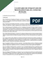 Reglamento Sanitario de Etiquetado de Alimentos Procesados Para El Consumo Humano Junio 2014
