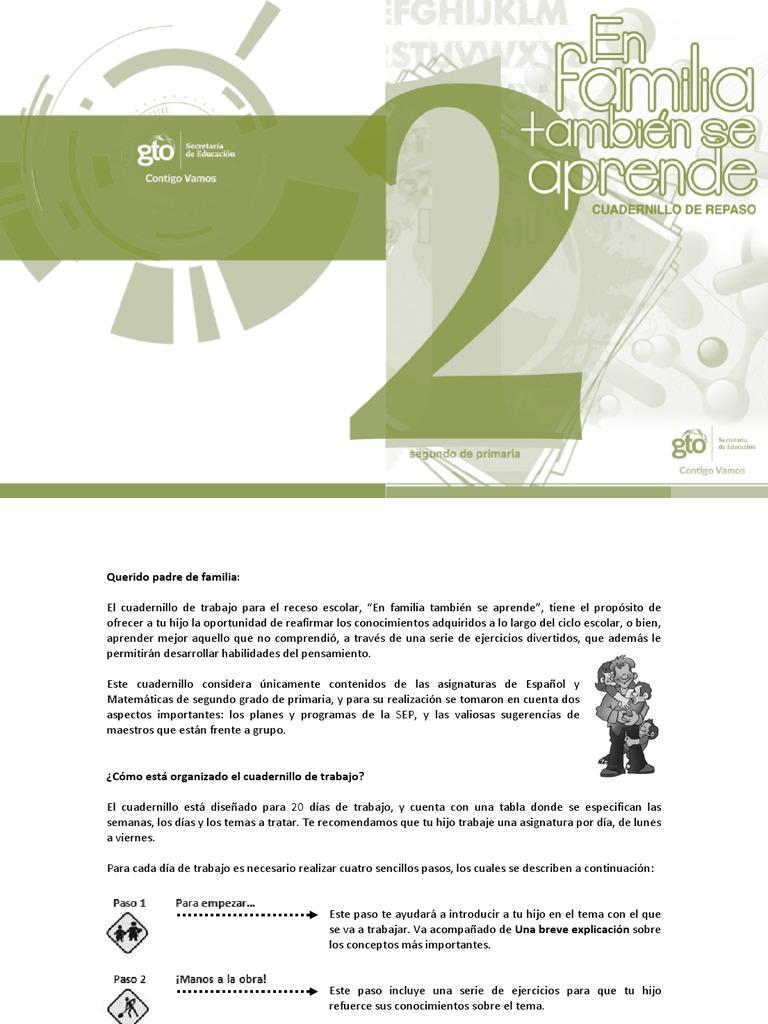 Español y Matemáticas. Cuadernillo de Trabajo. Segundo Grado