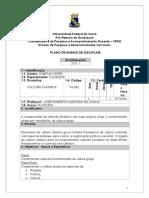 Plano de Ensino (Cultura Clássica 2011.1)