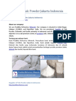 Supplier of Talc Powder Jakarta Indonesia