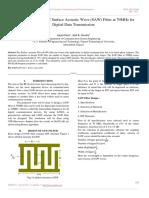 Design & Simulation of Surface Acoustic Wave (SAW) Filter at 70MHz for Digital Data Transmission