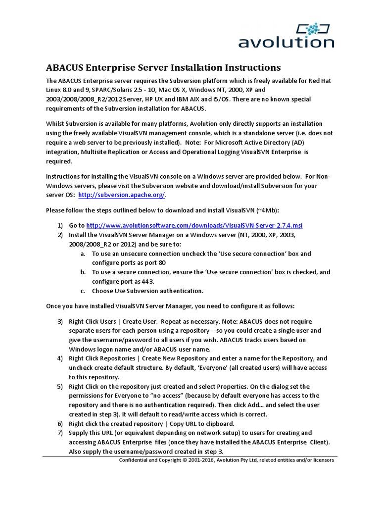 ABACUS Enterprise Server Installation Instructions | Proxy Server