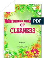 Monitoring Checklist of Cleaners
