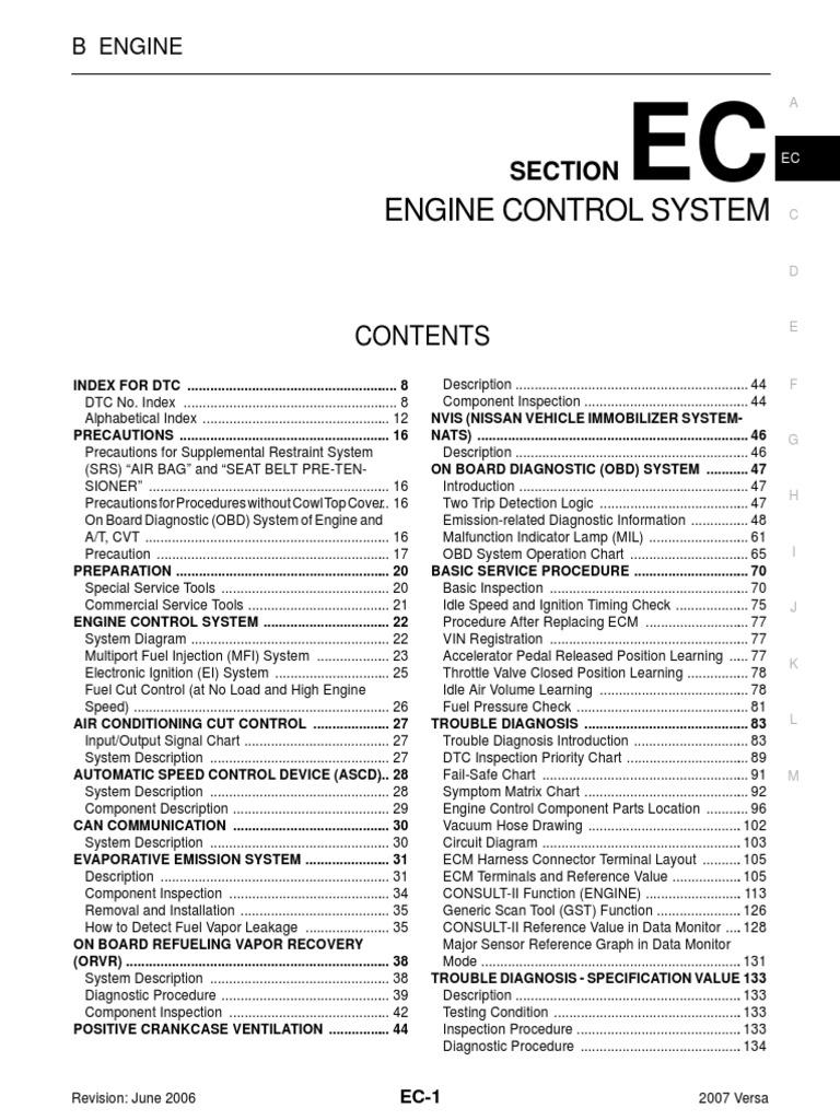 EC nissan tiida 1 8 MEC lr pdf | Medical Diagnosis | Control System