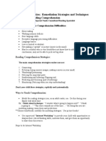 Reading Difficulties Reading Comprehension Handout