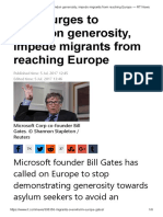 Gates Urges to Abandon Generosity, Impede Migrants From Reaching Europe