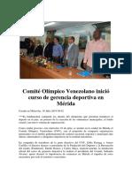 Comité Olímpico Venezolano Inició Curso de Gerencia Deportiva en Mérida