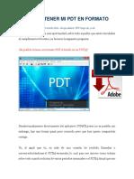 Cómo Obtener Mi Pdt en Formato PDF