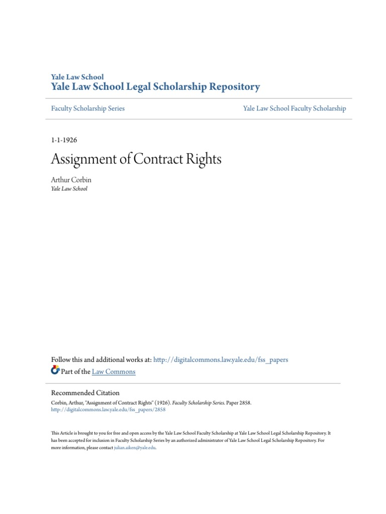 Assignment of Contract Rights (1).pdf   Assignment (Law)   Civil Law ...