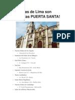 15 Iglesias de Lima Son Declaradas PUERTA SANTA