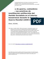 Bisso - Mimicas de Guerra, Costumbres de Paz. Las Practicas de Movilizacion Antifascista Del Partido Socialista en El Inter (..)
